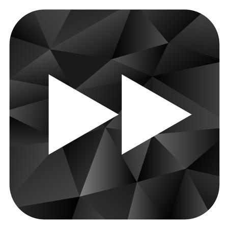 Rewind black color web modern brillant design square internet icon on white background.
