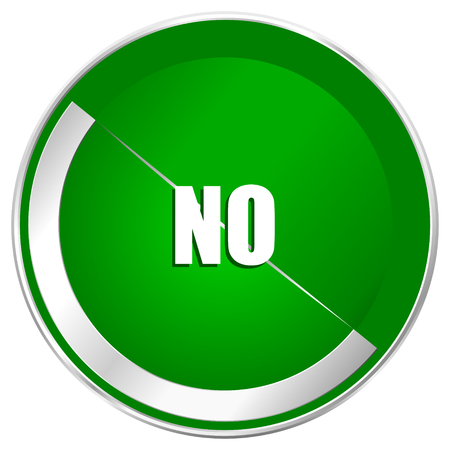 No silver metallic border green web icon for mobile apps and internet.