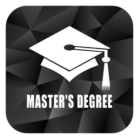 master degree: Masters degree black color web modern brillant design square internet icon on white background.