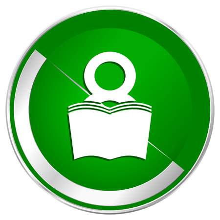 Book silver metallic border green web icon for mobile apps and internet.