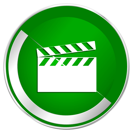 Video silver metallic border green web icon for mobile apps and internet.