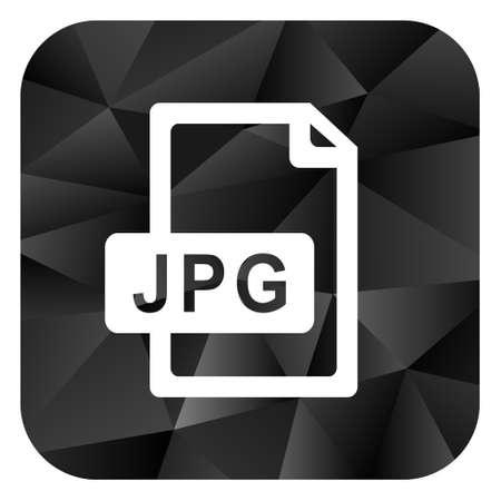 compression: Jpg file black color web modern brillant design square internet icon on white background. Stock Photo