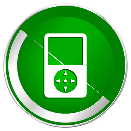 Multimedia player silver metallic border green web icon for mobile apps and internet.