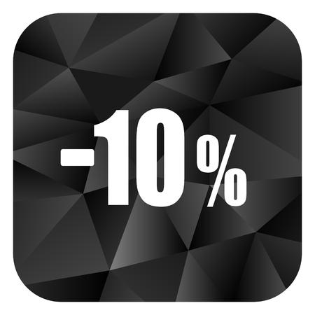 10 percent sale retail black color web modern brillant design square internet icon on white background.