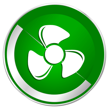 Fan silver metallic border green web icon for mobile apps and internet. Stock Photo