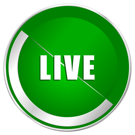 livestream: Live silver metallic border green web icon for mobile apps and internet.