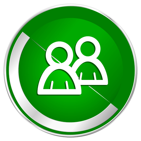 Forum silver metallic border green web icon for mobile apps and internet.
