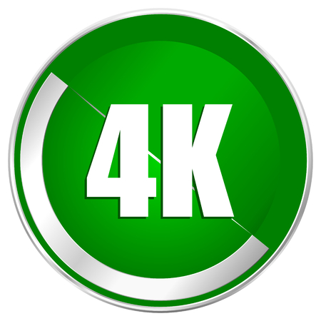ultra modern: 4k silver metallic border green web icon for mobile apps and internet.
