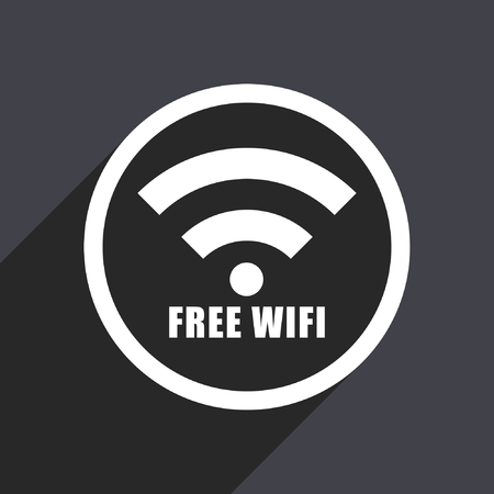 mobile website: Free wifi flat design vector icon. Illustration