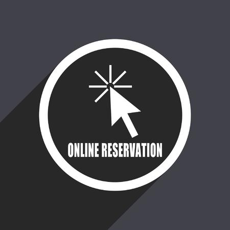 mobile website: Online reservation flat design vector icon.