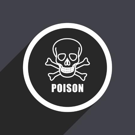 Poison skull flat design vector icon. Illustration