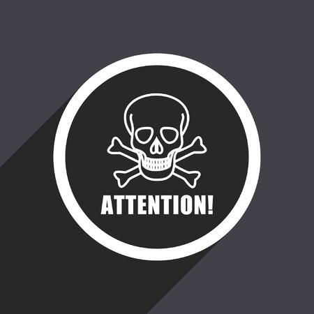 poison: Attention skull flat design vector icon.