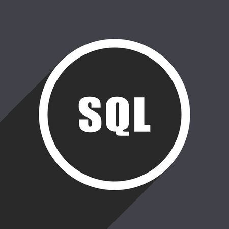 hard drive: Sql flat design vector icon.