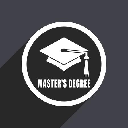 master degree: Masters degree flat design vector icon.