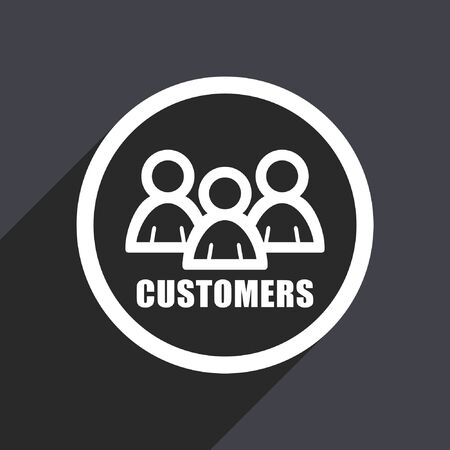 account executive: Customers flat design vector icon.