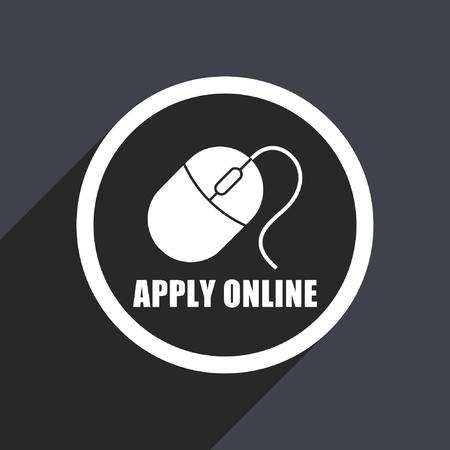 Apply online flat design vector icon.