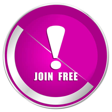 subscribe here: Join free web design violet silver metallic border internet icon. Stock Photo