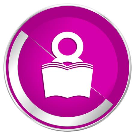 Book web design violet silver metallic border internet icon. Stock Photo