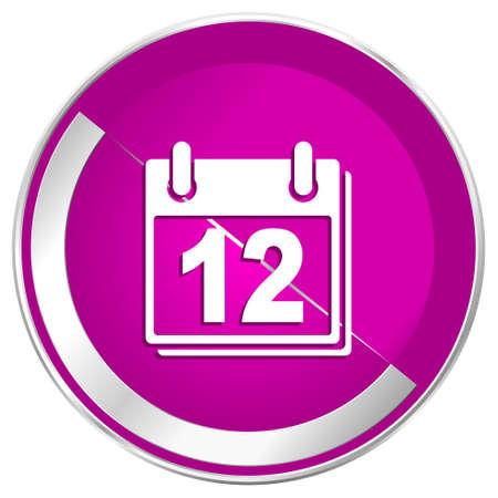 Calendar web design violet silver metallic border internet icon. Stock Photo