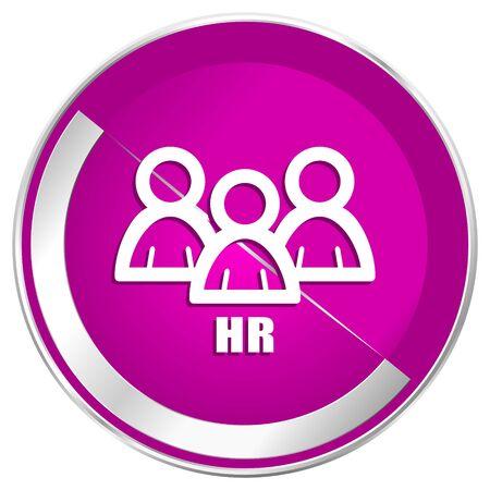 chrome man: HR web design violet silver metallic border internet icon. Stock Photo