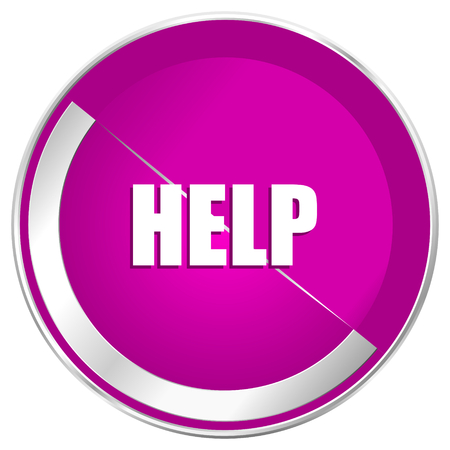 inform information: Help web design violet silver metallic border internet icon.