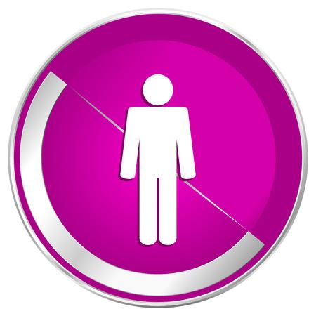 Male web design violet silver metallic border internet icon.
