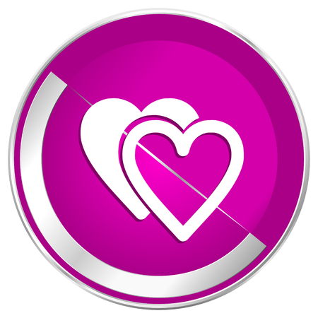 Love web design violet silver metallic border internet icon. Imagens