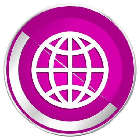 Earth web design violet silver metallic border internet icon. Stock Photo