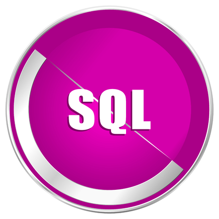 Sql web design violet silver metallic border internet icon.