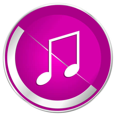 Music web design violet silver metallic border internet icon. Stock Photo