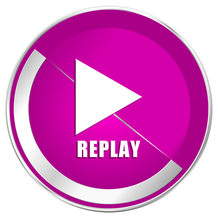 Replay web design violet silver metallic border internet icon. Stock Photo