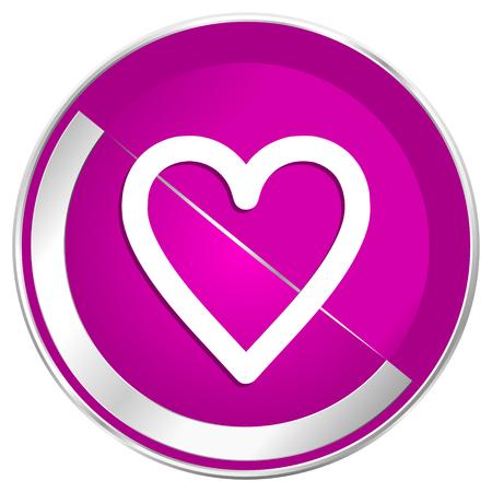 Heart web design violet silver metallic border internet icon.