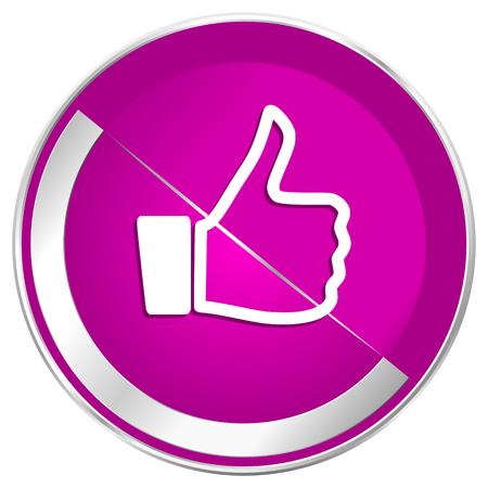 Like web design violet silver metallic border internet icon. Stock Photo