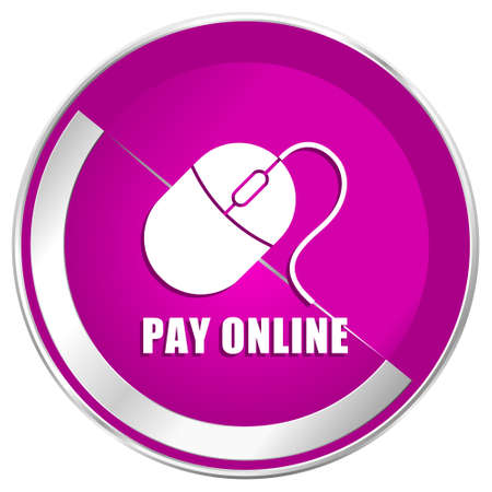 mobile website: Pay online web design violet silver metallic border internet icon.