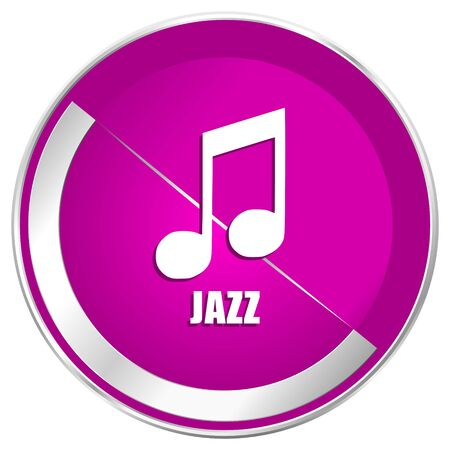 Jazz music web design violet silver metallic border internet icon. Stock Photo