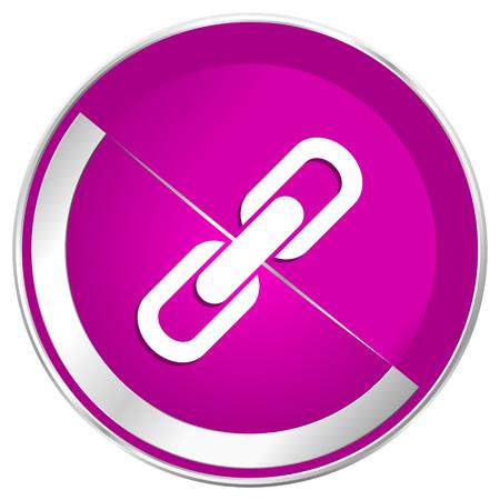 Link web design icona violetta argento metallico bordo internet. Archivio Fotografico - 76143375