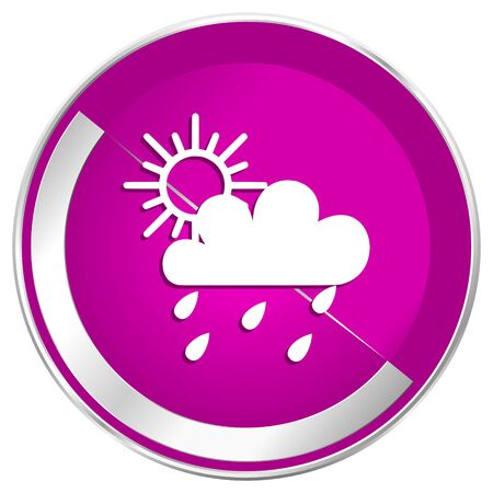 Rain web design violet silver metallic border internet icon.