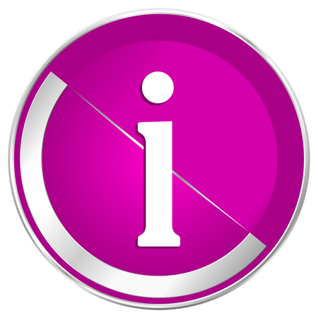 Information web design violet silver metallic border internet icon.