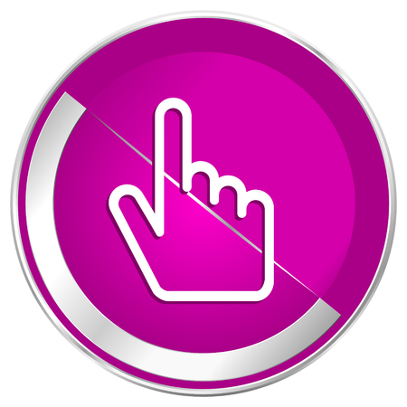 Cursor hand web design violet silver metallic border internet icon. Stock Photo