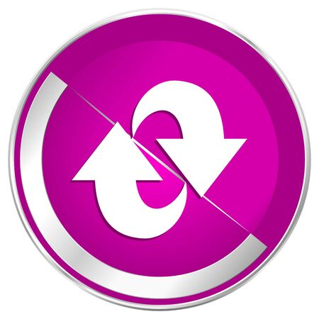Rotation web design violet silver metallic border internet icon. Stock Photo