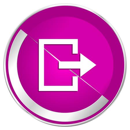 Exit web design violet silver metallic border internet icon.