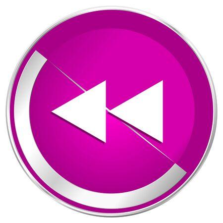 Rewind web design violet silver metallic border internet icon. Stock Photo