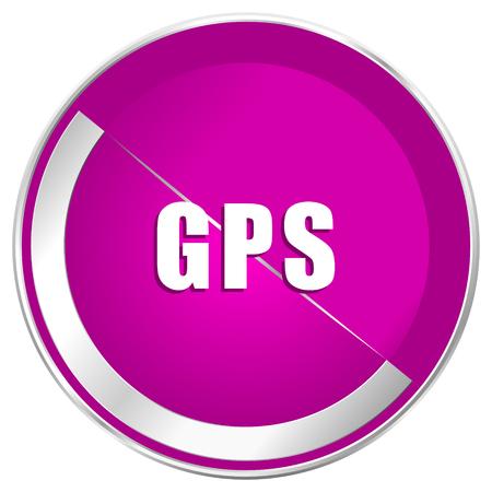 Gps web design violet silver metallic border internet icon.