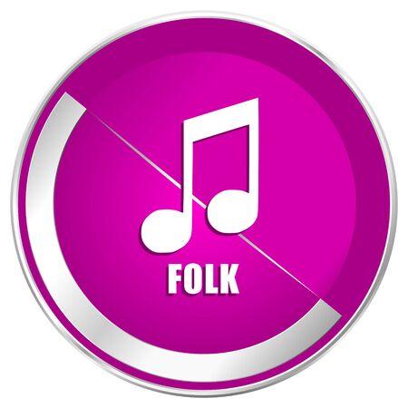 Folk music web design violet silver metallic border internet icon.
