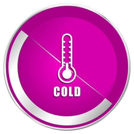 Cold thermometer web design violet silver metallic border internet icon.