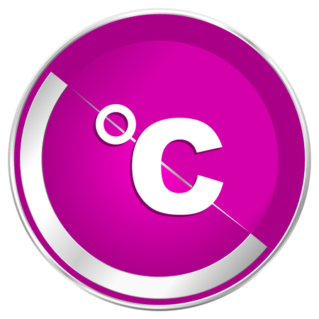Celsius web design violet silver metallic border internet icon. Stock Photo