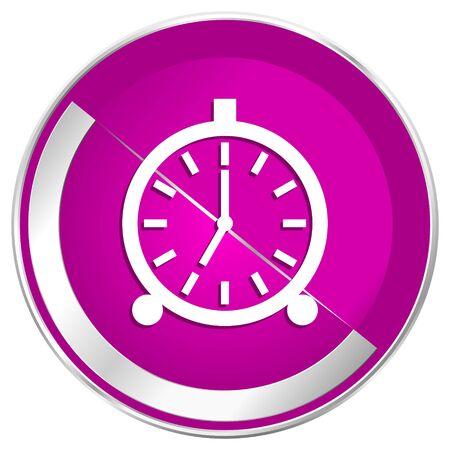 Alarm web design violet silver metallic border internet icon. Stock Photo