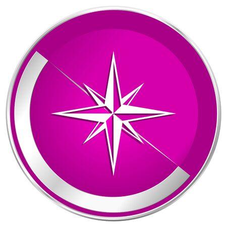 geodesy: Compass web design violet silver metallic border internet icon.