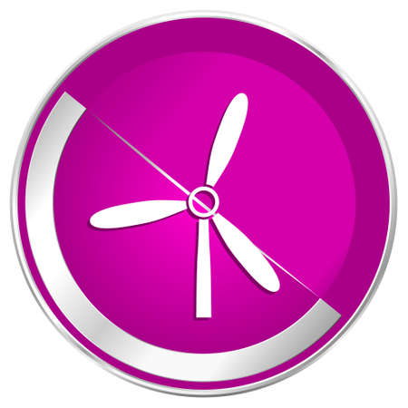 wind mills: Windmill web design violet silver metallic border internet icon.