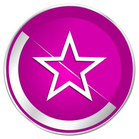 valid: Star web design violet silver metallic border internet icon.